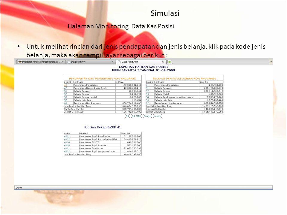 Simulasi Halaman Monitoring Data Kas Posisi Tampil layar sebagai berikut :