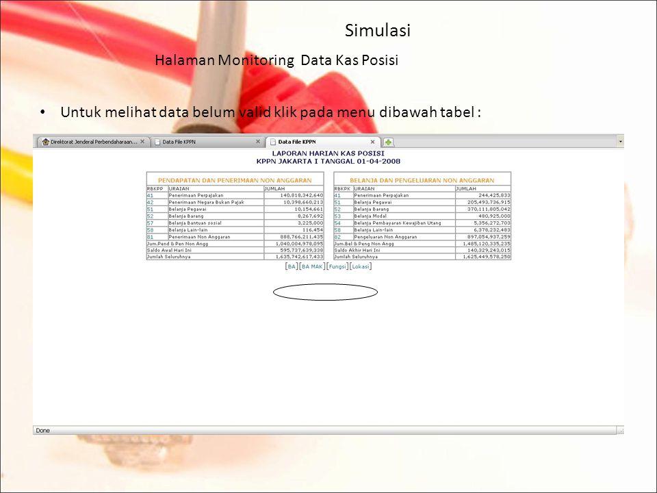 Simulasi Halaman Monitoring Data Kas Posisi Untuk melihat rincian per mata anggaran dari jenis pendapatan dan jenis belanja yang dimaksud, klik pada kode jenis belanja, maka akan tampil layar sebagai berikut :
