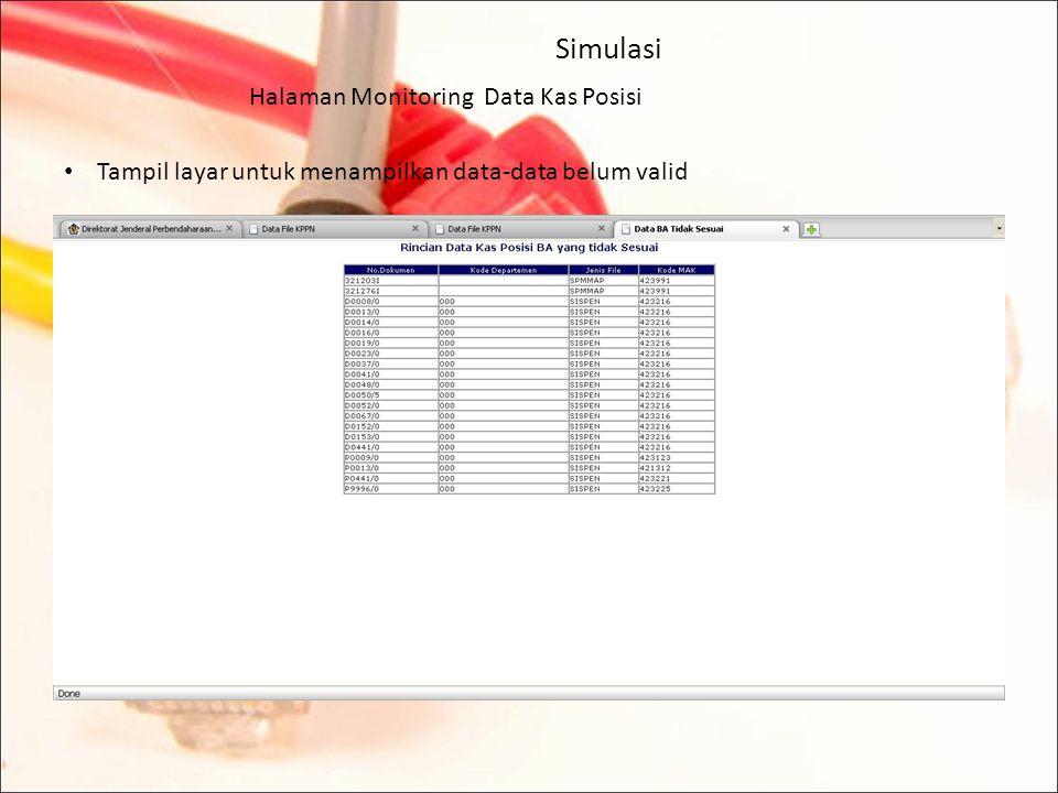 Simulasi Halaman Monitoring Data Kas Posisi Untuk melihat data belum valid klik pada menu dibawah tabel :