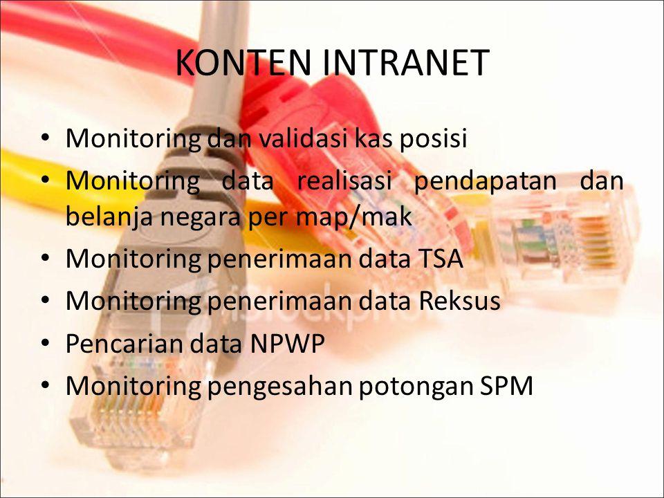 TUJUAN INTRANET Sebagai sarana penyedia informasi bagi seluruh kantor vertikal DJPBn dan instansi yang tergabung dalam jaringan intranet. Meningkatkan