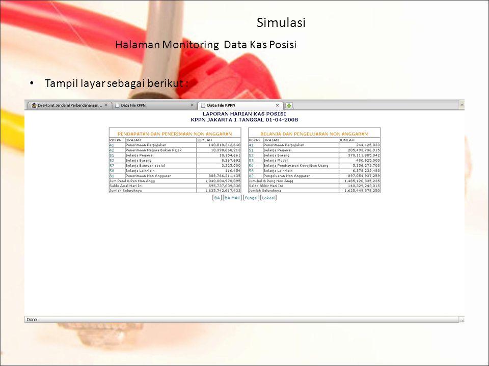 Halaman Monitoring Data Kas Posisi Untuk melihat rincian dari data valid, klik pada tanggal yang berwarna biru.