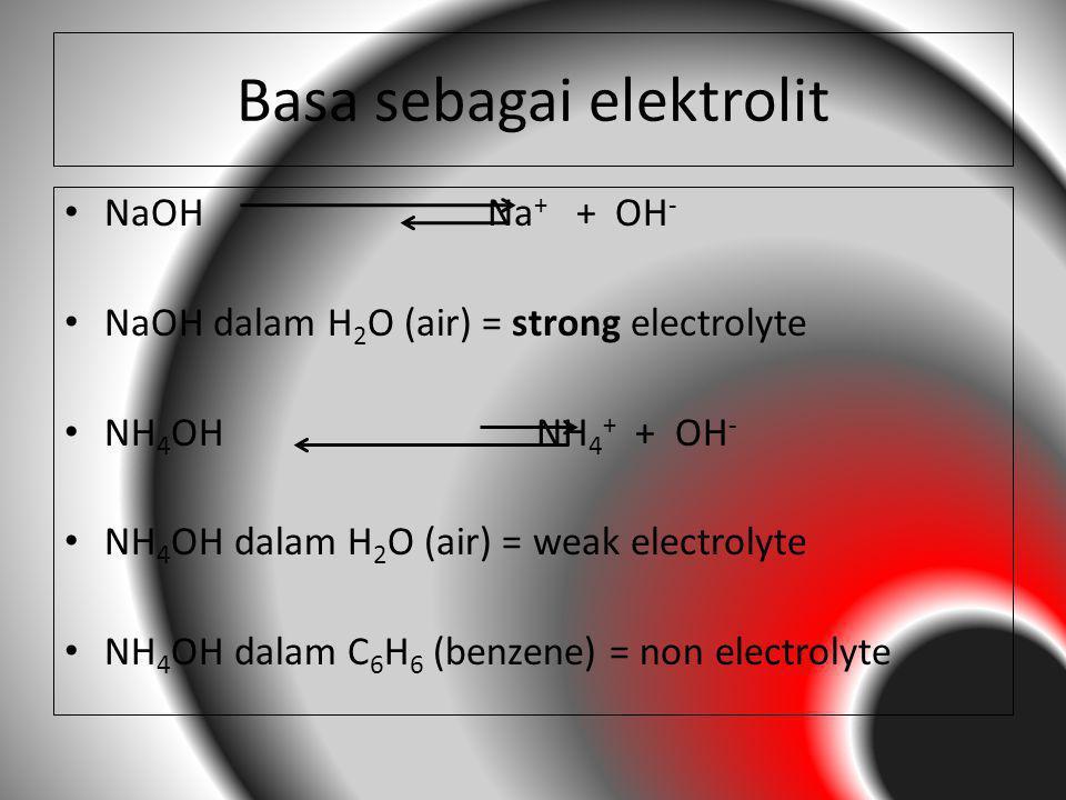 Basa sebagai elektrolit NaOH Na + + OH - NaOH dalam H 2 O (air) = strong electrolyte NH 4 OH NH 4 + + OH - NH 4 OH dalam H 2 O (air) = weak electrolyt