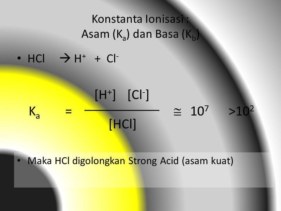 Konstanta Ionisasi : Asam (K a ) dan Basa (K b ) HCl  H + + Cl - KaKa = [H + ][Cl - ] [HCl]  10 7 Maka HCl digolongkan Strong Acid (asam kuat) >10 2