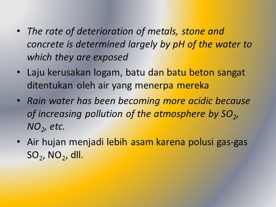 The rate of deterioration of metals, stone and concrete is determined largely by pH of the water to which they are exposed Laju kerusakan logam, batu dan batu beton sangat ditentukan oleh air yang menerpa mereka Rain water has been becoming more acidic because of increasing pollution of the atmosphere by SO 2, NO 2, etc.