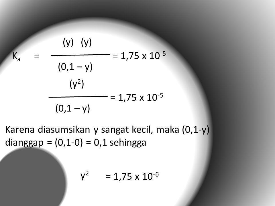KaKa = (y) (0,1 – y) = 1,75 x 10 -5 (y 2 ) (0,1 – y) = 1,75 x 10 -5 y2y2 = 1,75 x 10 -6 Karena diasumsikan y sangat kecil, maka (0,1-y) dianggap = (0,