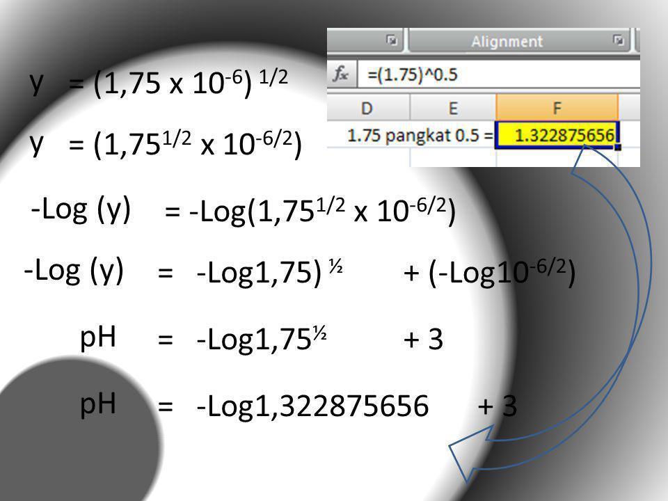 y = (1,75 x 10 -6 ) 1/2 y = (1,75 1/2 x 10 -6/2 ) -Log (y) = -Log(1,75 1/2 x 10 -6/2 ) -Log (y) = -Log1,75) ½ + (-Log10 -6/2 ) pH = -Log1,75 ½ + 3 pH