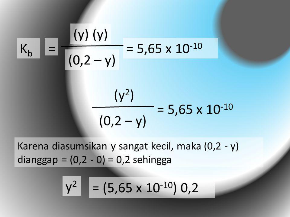 KbKb = (y) (0,2 – y) = 5,65 x 10 -10 (y 2 ) (0,2 – y) = 5,65 x 10 -10 y2y2 = (5,65 x 10 -10 ) 0,2 Karena diasumsikan y sangat kecil, maka (0,2 - y) di