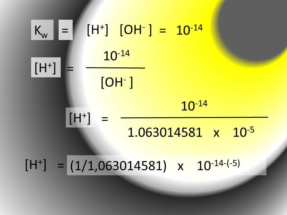 KwKw = [H + ][OH - ] = 10 -14 = [H + ] [OH - ] 10 -14 = [H + ] 1.063014581 x 10 -5 10 -14 = [H + ] (1/1,063014581) x 10 -14-(-5)