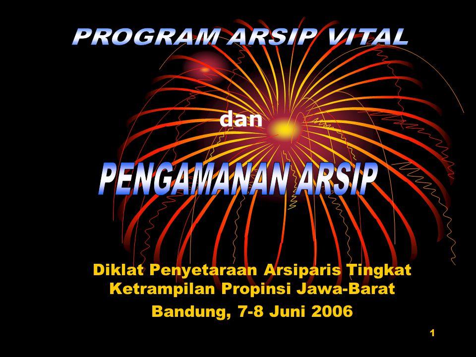 1 Diklat Penyetaraan Arsiparis Tingkat Ketrampilan Propinsi Jawa-Barat Bandung, 7-8 Juni 2006 dan