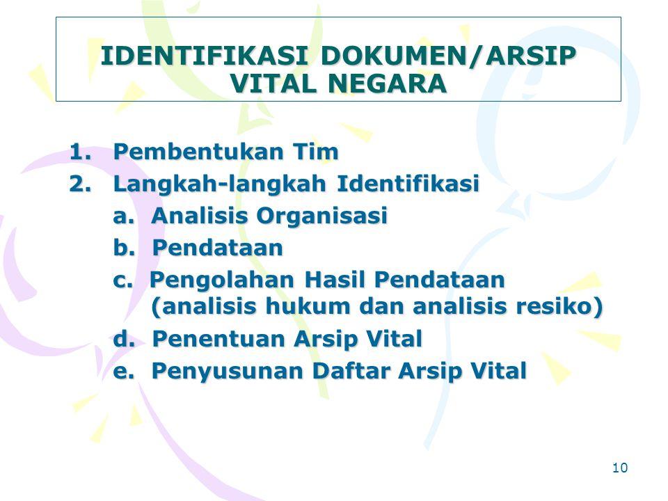 9 KRITERIA DOKUMEN/ARSIP VITAL 1.Merupakan prasyarat keberadaan organisasi, karena tidak dapat digantikan secara administratif maupun legalitasnya 2.U