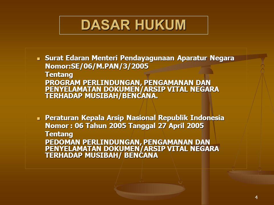 4 DASAR HUKUM Surat Edaran Menteri Pendayagunaan Aparatur Negara Surat Edaran Menteri Pendayagunaan Aparatur Negara Nomor:SE/06/M.PAN/3/2005 Nomor:SE/06/M.PAN/3/2005Tentang PROGRAM PERLINDUNGAN, PENGAMANAN DAN PENYELAMATAN DOKUMEN/ARSIP VITAL NEGARA TERHADAP MUSIBAH/BENCANA.