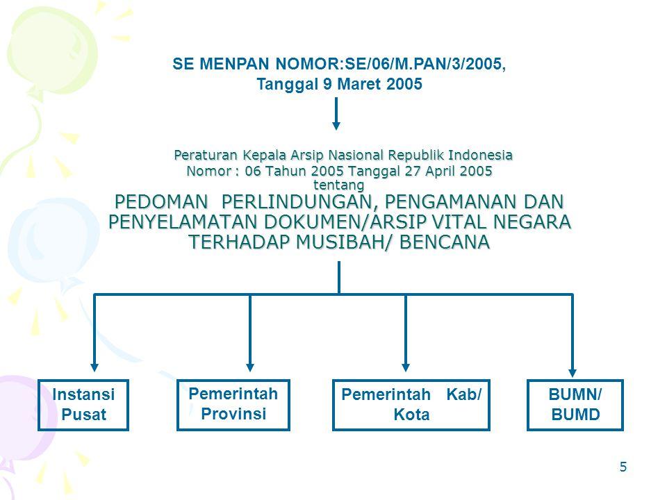 5 Peraturan Kepala Arsip Nasional Republik Indonesia Nomor : 06 Tahun 2005 Tanggal 27 April 2005 tentang PEDOMAN PERLINDUNGAN, PENGAMANAN DAN PENYELAMATAN DOKUMEN/ARSIP VITAL NEGARA TERHADAP MUSIBAH/ BENCANA Peraturan Kepala Arsip Nasional Republik Indonesia Nomor : 06 Tahun 2005 Tanggal 27 April 2005 tentang PEDOMAN PERLINDUNGAN, PENGAMANAN DAN PENYELAMATAN DOKUMEN/ARSIP VITAL NEGARA TERHADAP MUSIBAH/ BENCANA SE MENPAN NOMOR:SE/06/M.PAN/3/2005, Tanggal 9 Maret 2005 Instansi Pusat Pemerintah Kab/ Kota Pemerintah Provinsi BUMN/ BUMD
