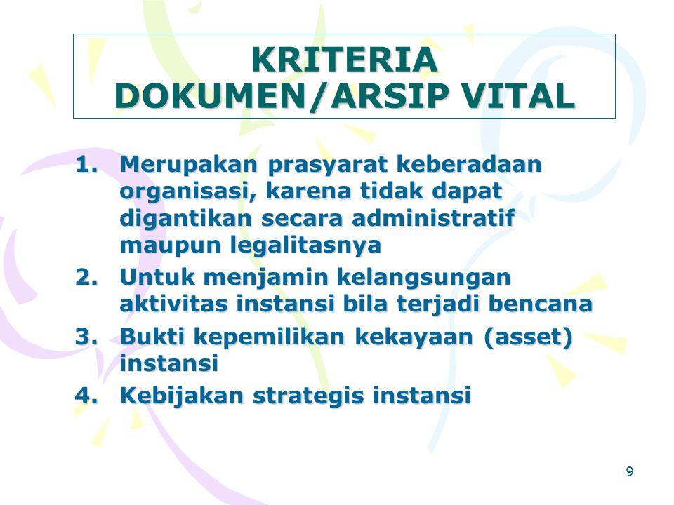 9 KRITERIA DOKUMEN/ARSIP VITAL 1.Merupakan prasyarat keberadaan organisasi, karena tidak dapat digantikan secara administratif maupun legalitasnya 2.Untuk menjamin kelangsungan aktivitas instansi bila terjadi bencana 3.Bukti kepemilikan kekayaan (asset) instansi 4.Kebijakan strategis instansi