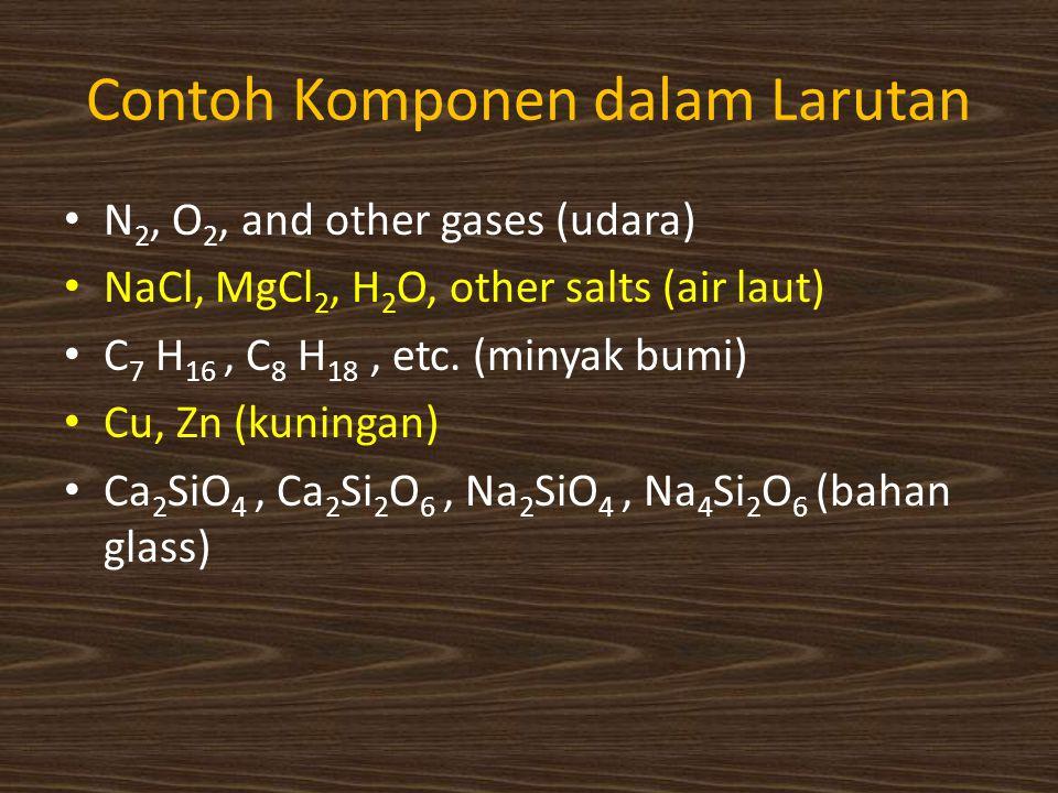 Contoh Komponen dalam Larutan N 2, O 2, and other gases (udara) NaCl, MgCl 2, H 2 O, other salts (air laut) C 7 H 16, C 8 H 18, etc. (minyak bumi) Cu,