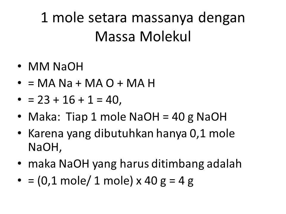 1 mole setara massanya dengan Massa Molekul MM NaOH = MA Na + MA O + MA H = 23 + 16 + 1 = 40, Maka: Tiap 1 mole NaOH = 40 g NaOH Karena yang dibutuhka