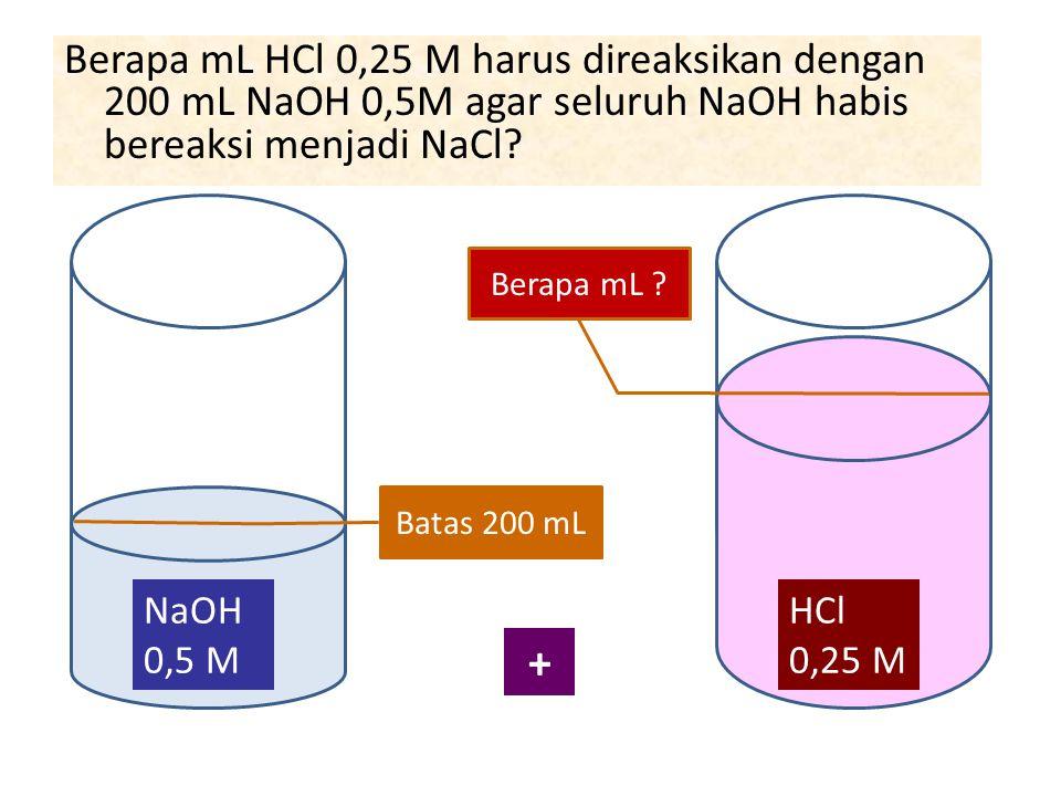 Berapa mL HCl 0,25 M harus direaksikan dengan 200 mL NaOH 0,5M agar seluruh NaOH habis bereaksi menjadi NaCl? NaOH 0,5 M Batas 200 mL HCl 0,25 M Berap