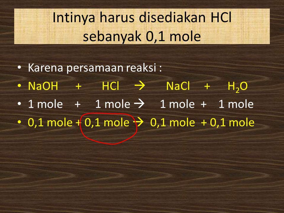 Intinya harus disediakan HCl sebanyak 0,1 mole Karena persamaan reaksi : NaOH + HCl  NaCl + H 2 O 1 mole + 1 mole  1 mole + 1 mole 0,1 mole + 0,1 mo