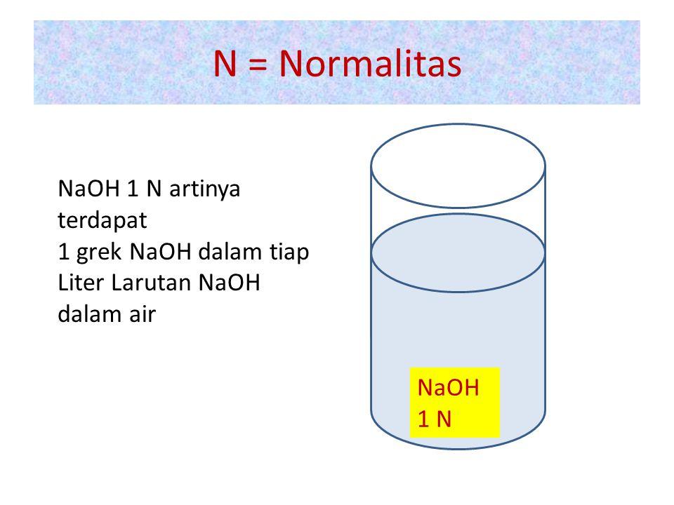 N = Normalitas NaOH 1 N NaOH 1 N artinya terdapat 1 grek NaOH dalam tiap Liter Larutan NaOH dalam air
