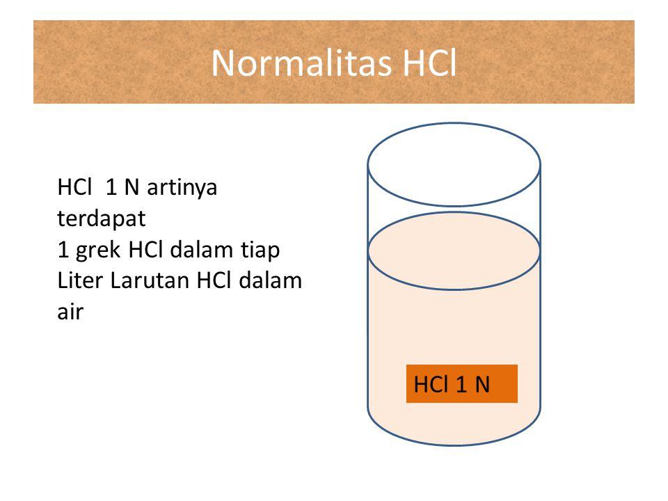 Normalitas HCl HCl 1 N HCl 1 N artinya terdapat 1 grek HCl dalam tiap Liter Larutan HCl dalam air