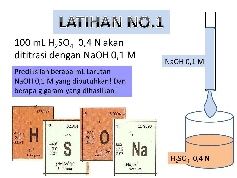 100 mL H 2 SO 4 0,4 N akan dititrasi dengan NaOH 0,1 M Prediksilah berapa mL Larutan NaOH 0,1 M yang dibutuhkan! Dan berapa g garam yang dihasilkan! H
