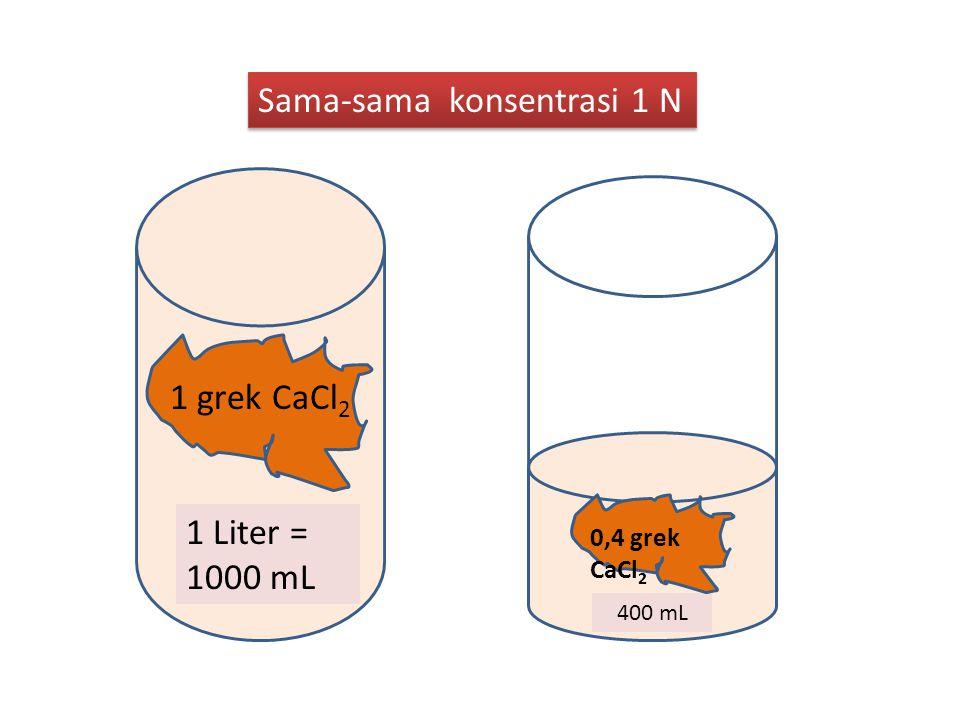 1 Liter = 1000 mL 1 grek CaCl 2 400 mL 0,4 grek CaCl 2 Sama-sama konsentrasi 1 N