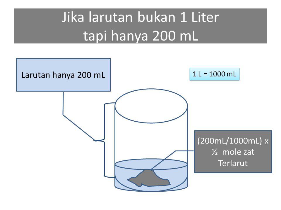 Jika larutan bukan 1 Liter tapi hanya 200 mL (200mL/1000mL) x ½ mole zat Terlarut Larutan hanya 200 mL 1 L = 1000 mL