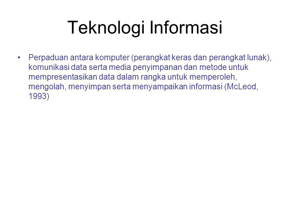 Teknologi Informasi Perpaduan antara komputer (perangkat keras dan perangkat lunak), komunikasi data serta media penyimpanan dan metode untuk mempresentasikan data dalam rangka untuk memperoleh, mengolah, menyimpan serta menyampaikan informasi (McLeod, 1993)