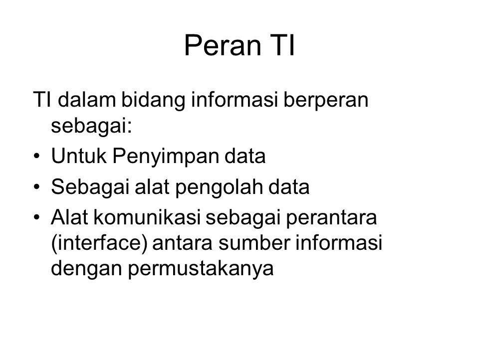 Peran TI TI dalam bidang informasi berperan sebagai: Untuk Penyimpan data Sebagai alat pengolah data Alat komunikasi sebagai perantara (interface) antara sumber informasi dengan permustakanya
