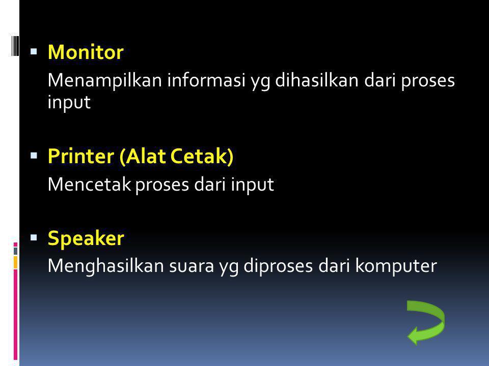  Monitor Menampilkan informasi yg dihasilkan dari proses input  Printer (Alat Cetak) Mencetak proses dari input  Speaker Menghasilkan suara yg dipr