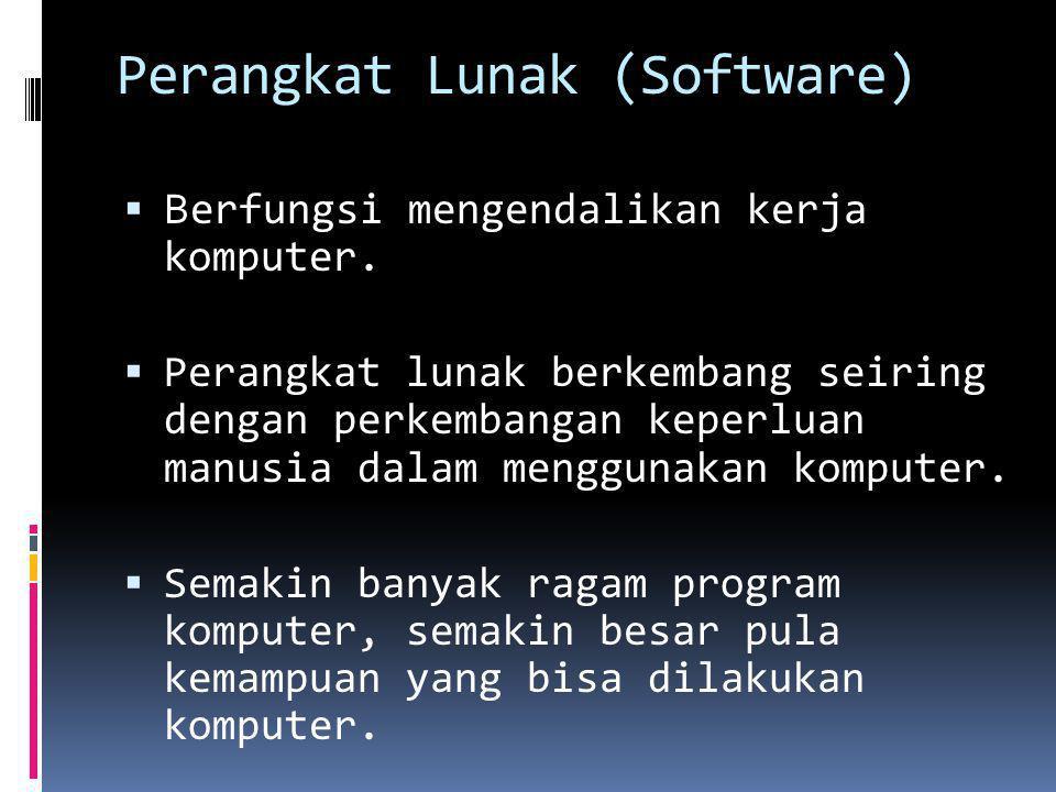 Perangkat Lunak (Software)  B erfungsi mengendalikan kerja komputer.  Perangkat lunak berkembang seiring dengan perkembangan keperluan manusia dalam