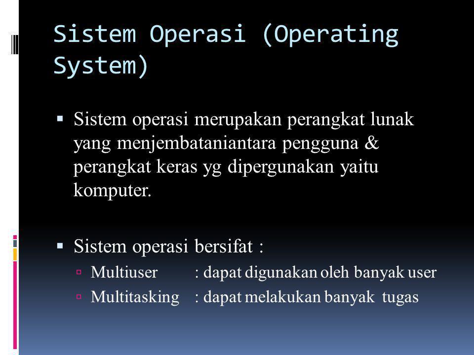 Sistem Operasi (Operating System)  Sistem operasi merupakan perangkat lunak yang menjembataniantara pengguna & perangkat keras yg dipergunakan yaitu