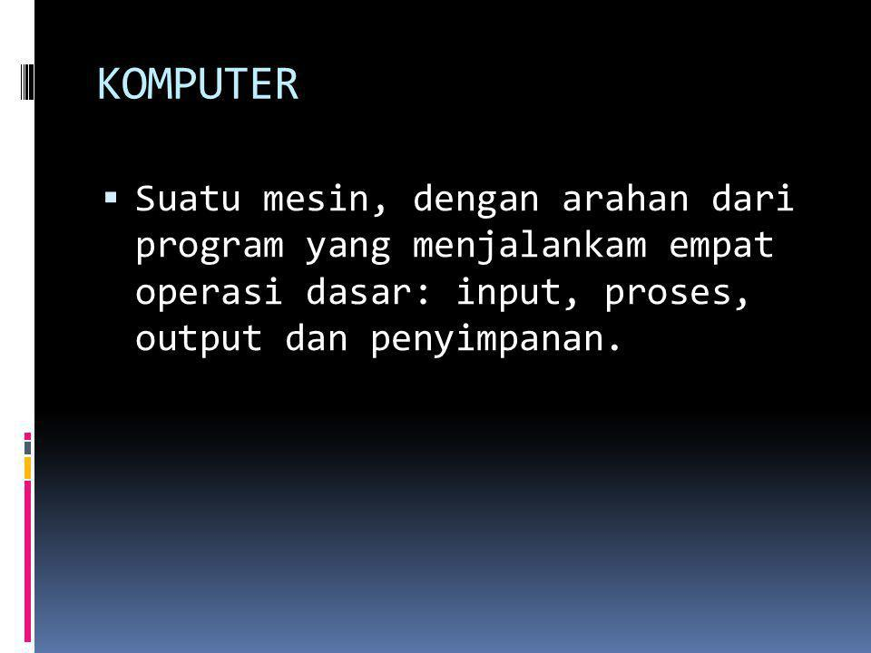 CPU  Mikroprosesor yang menjalankan instruksi untuk melakukan tugas pengolahan.