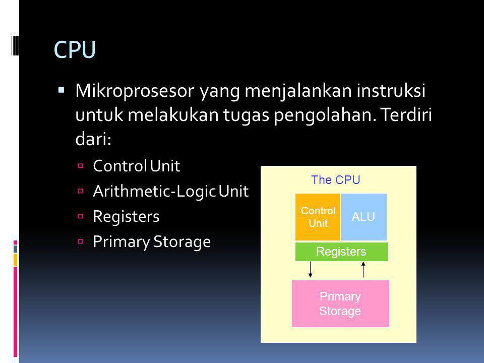 CPU  Mikroprosesor yang menjalankan instruksi untuk melakukan tugas pengolahan. Terdiri dari:  Control Unit  Arithmetic-Logic Unit  Registers  Pr