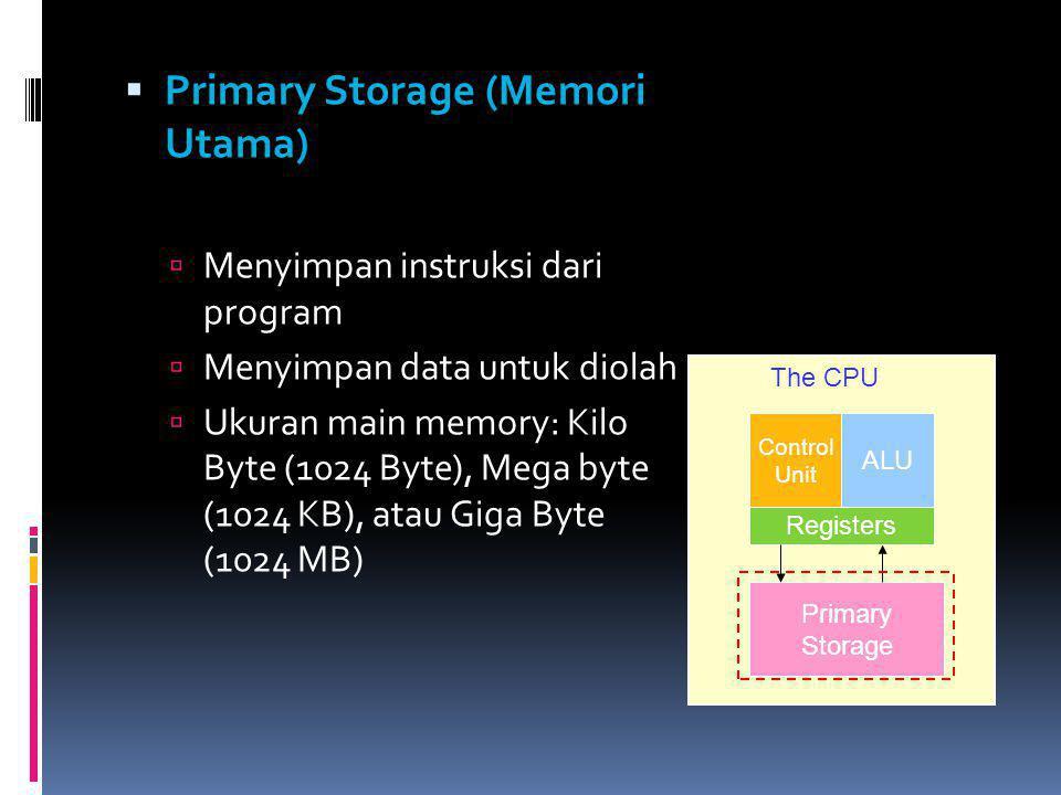  Primary Storage (Memori Utama)  Menyimpan instruksi dari program  Menyimpan data untuk diolah  Ukuran main memory: Kilo Byte (1024 Byte), Mega by