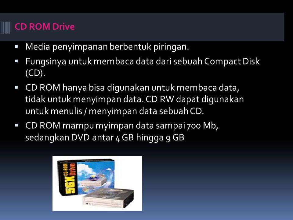 CD ROM Drive  Media penyimpanan berbentuk piringan.  Fungsinya untuk membaca data dari sebuah Compact Disk (CD).  CD ROM hanya bisa digunakan untuk
