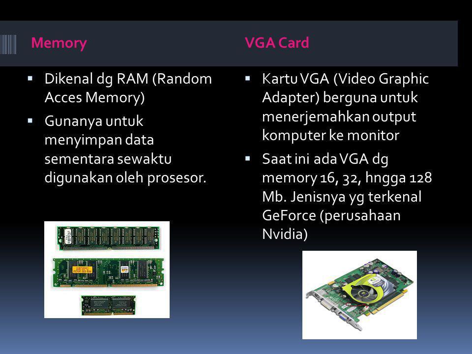MemoryVGA Card  Dikenal dg RAM (Random Acces Memory)  Gunanya untuk menyimpan data sementara sewaktu digunakan oleh prosesor.  Kartu VGA (Video Gra