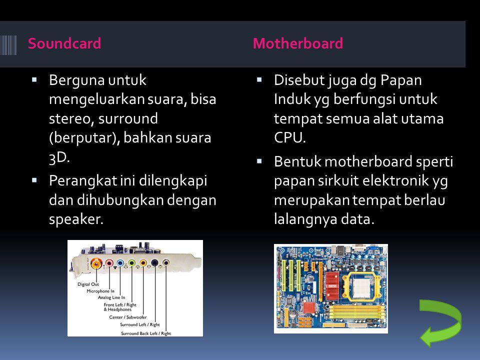 SoundcardMotherboard  Berguna untuk mengeluarkan suara, bisa stereo, surround (berputar), bahkan suara 3D.  Perangkat ini dilengkapi dan dihubungkan