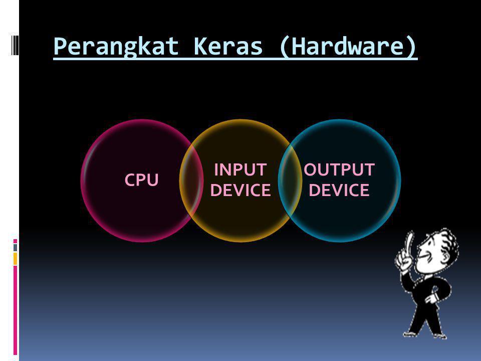 Registers  Tempat penyimpanan dengan kecepatan tinggi  Instruction Register (IR) menyimpan instruksi yang sedang diproses  Program Counter (PC) menyimpan alamat lokasi dari main memory yang berisi instruksi yang sedang diproses Control Unit Primary Storage ALU Registers The CPU