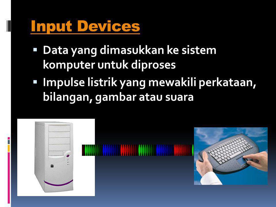 Mouse Memindahkan & mengarahkan pada dekstop (ruang kerja) sistem operasi  Keyboard Tersusun huruf QWERTY tambahan fungsi lain : tombol Esc, F1,…,F12
