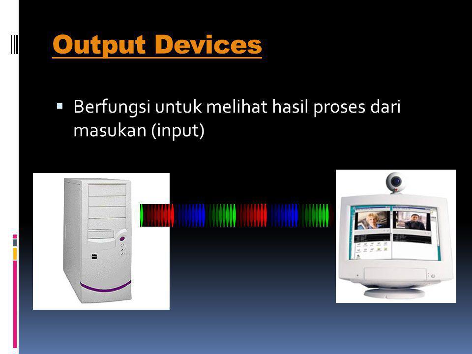  Monitor Menampilkan informasi yg dihasilkan dari proses input  Printer (Alat Cetak) Mencetak proses dari input  Speaker Menghasilkan suara yg diproses dari komputer