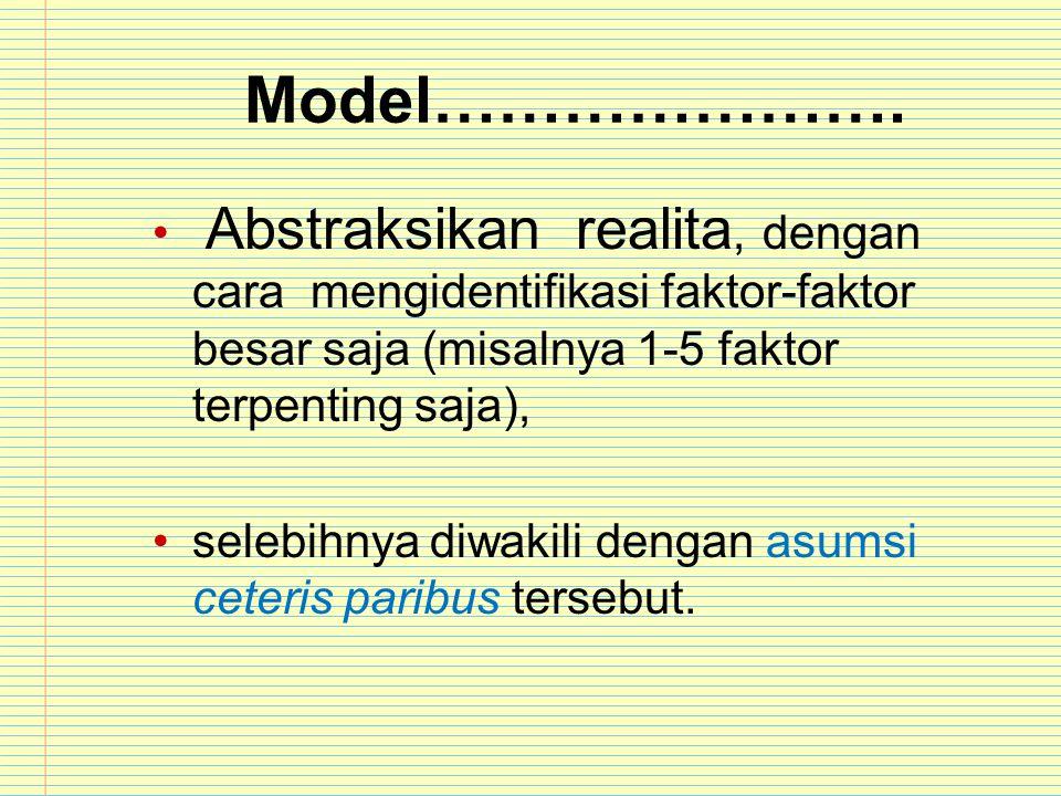 Model…………………. Abstraksikan realita, dengan cara mengidentifikasi faktor-faktor besar saja (misalnya 1-5 faktor terpenting saja), selebihnya diwakili d