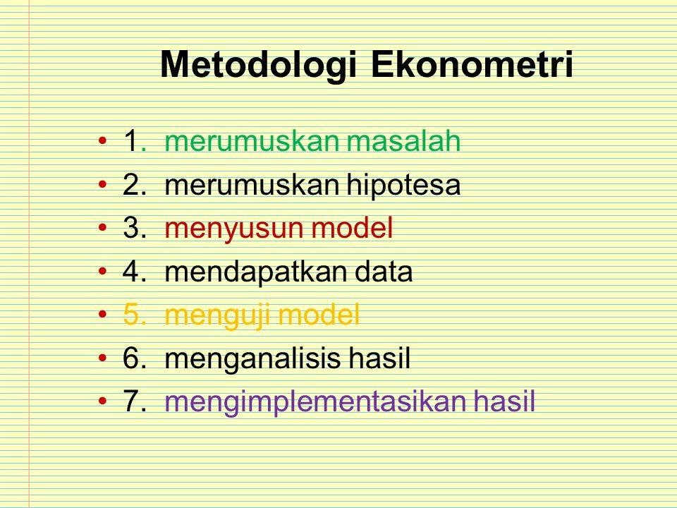 Metodologi Ekonometri 1. merumuskan masalah 2. merumuskan hipotesa 3. menyusun model 4. mendapatkan data 5. menguji model 6. menganalisis hasil 7. men
