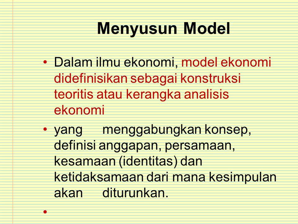 Menyusun Model Dalam ilmu ekonomi, model ekonomi didefinisikan sebagai konstruksi teoritis atau kerangka analisis ekonomi yangmenggabungkan konsep, de