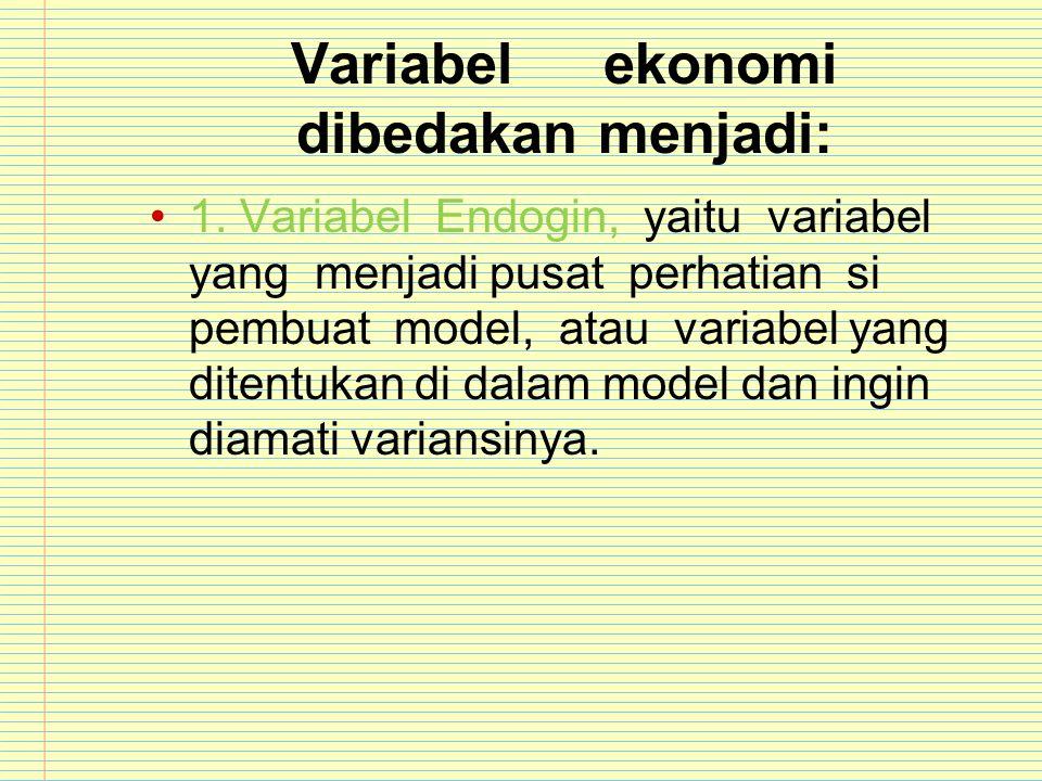 Variabelekonomi dibedakan menjadi: 1. Variabel Endogin, yaitu variabel yang menjadi pusat perhatian si pembuat model, atau variabel yang ditentukan di