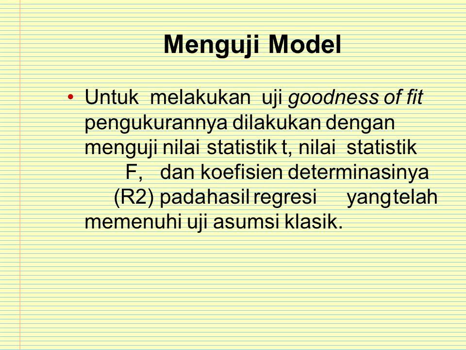 Menguji Model Untuk melakukan uji goodness of fit pengukurannya dilakukan dengan menguji nilaistatistik t, nilaistatistik F,dan koefisien determinasin