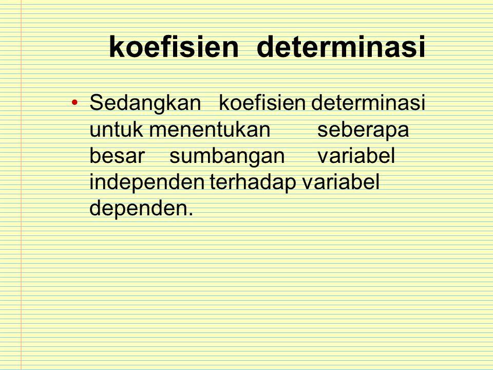 koefisiendeterminasi Sedangkankoefisien determinasi untuk menentukanseberapa besarsumbanganvariabel independen terhadap variabel dependen.
