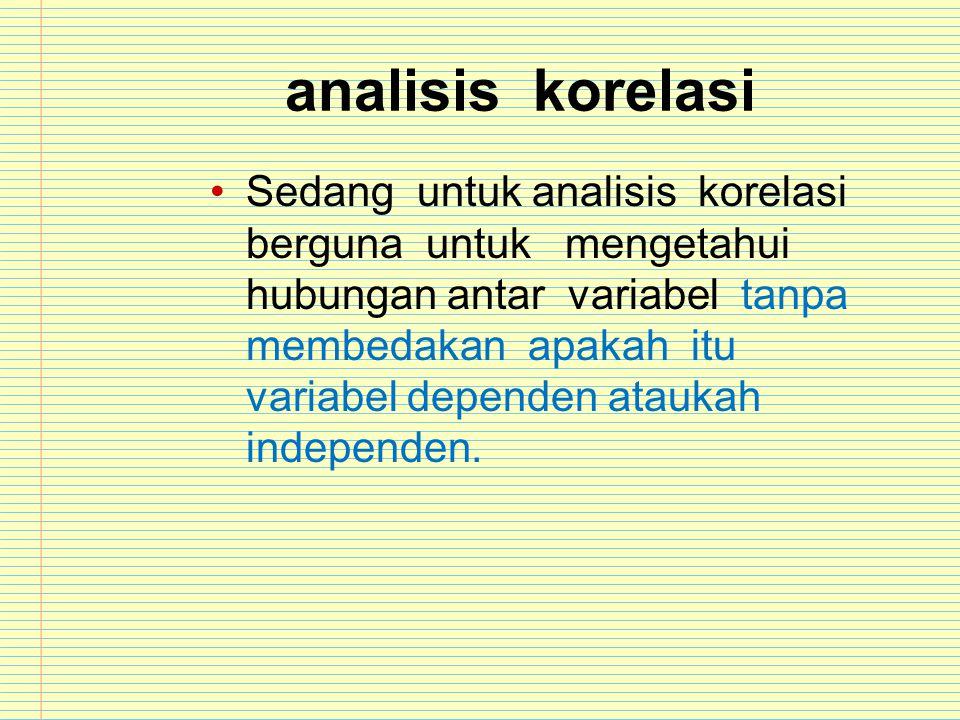analisis korelasi Sedang untuk analisis korelasi berguna untuk mengetahui hubungan antar variabel tanpa membedakan apakah itu variabel dependen atauka