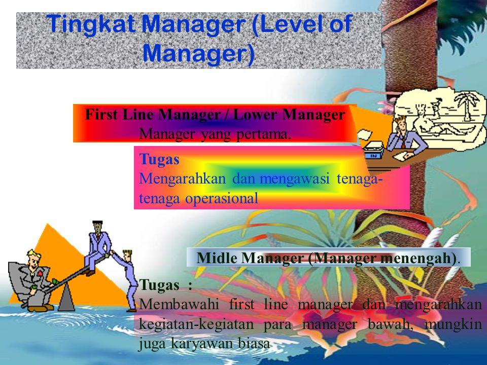 MANAGEMEN DAN MANAGER Orang yang bertanggung jawab terhadap bawahannya dan sumber daya lainnya.