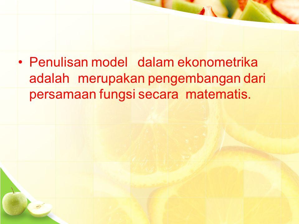 Penulisan modeldalam ekonometrika adalahmerupakan pengembangan dari persamaan fungsi secara matematis.
