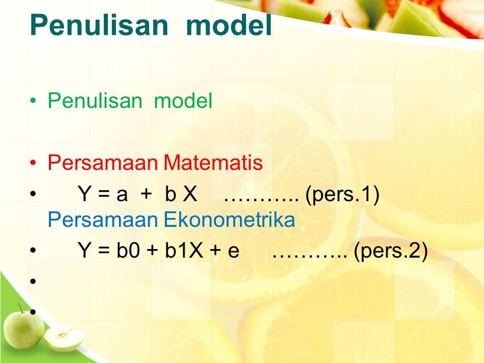 Penulisan model Persamaan Matematis Y = a + b X………..